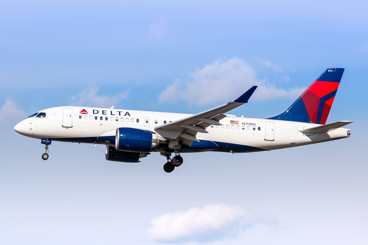 Delta Air Lines A220-100 airplane in the sky