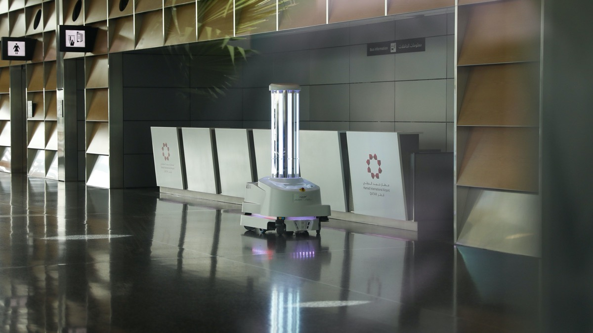a disinfectant robot roams the terminals at Hamad International Airport in Doha