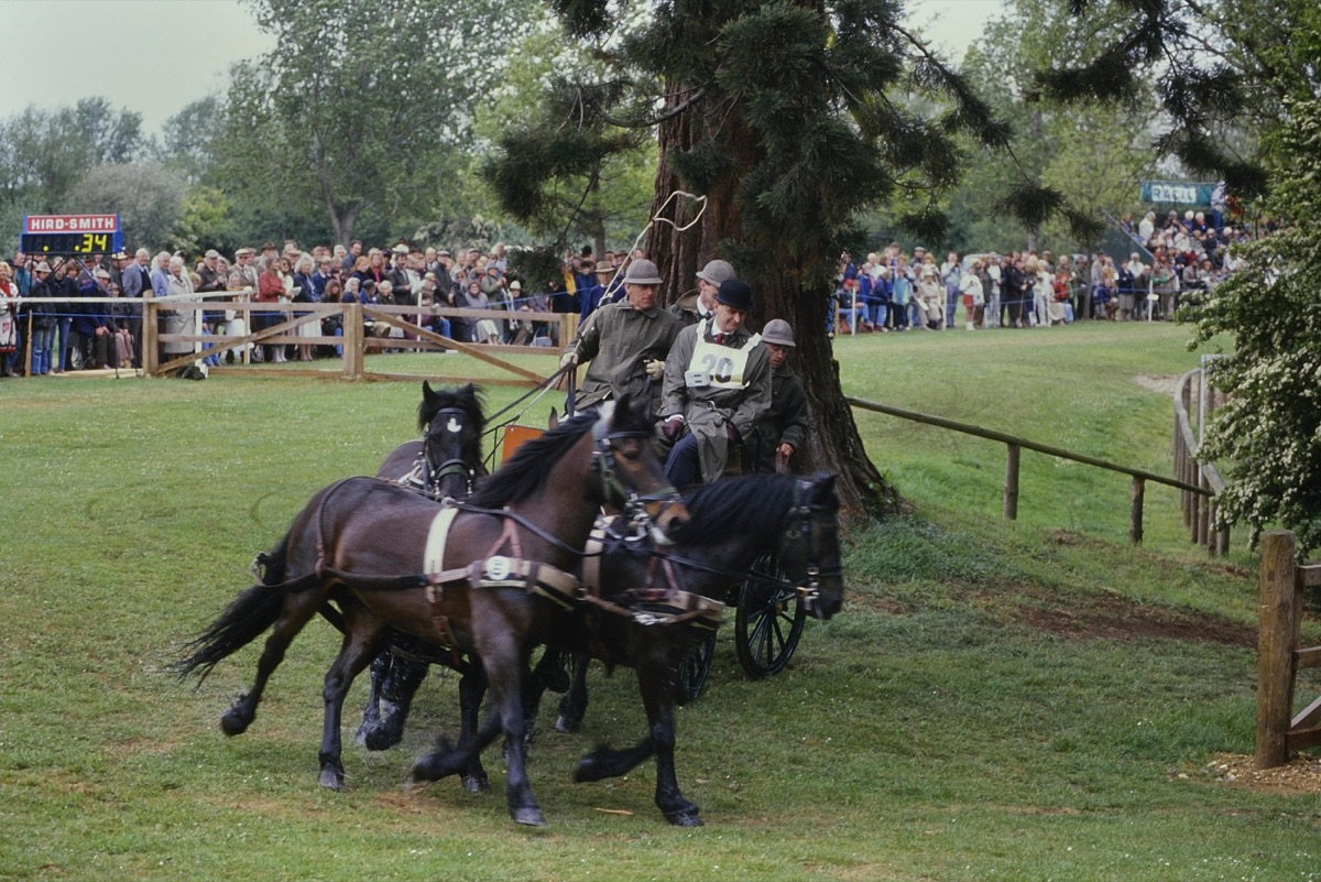 Prince Philip, Duke of Edinburgh competing at carriage driving. Windsor Horse show. Berkshire, England, UK. Circa 1989