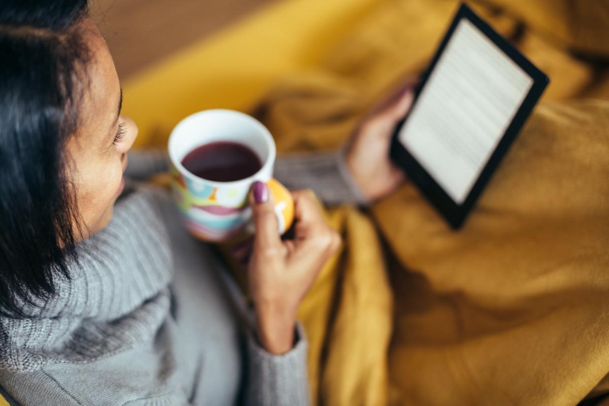 Woman reading an e-book