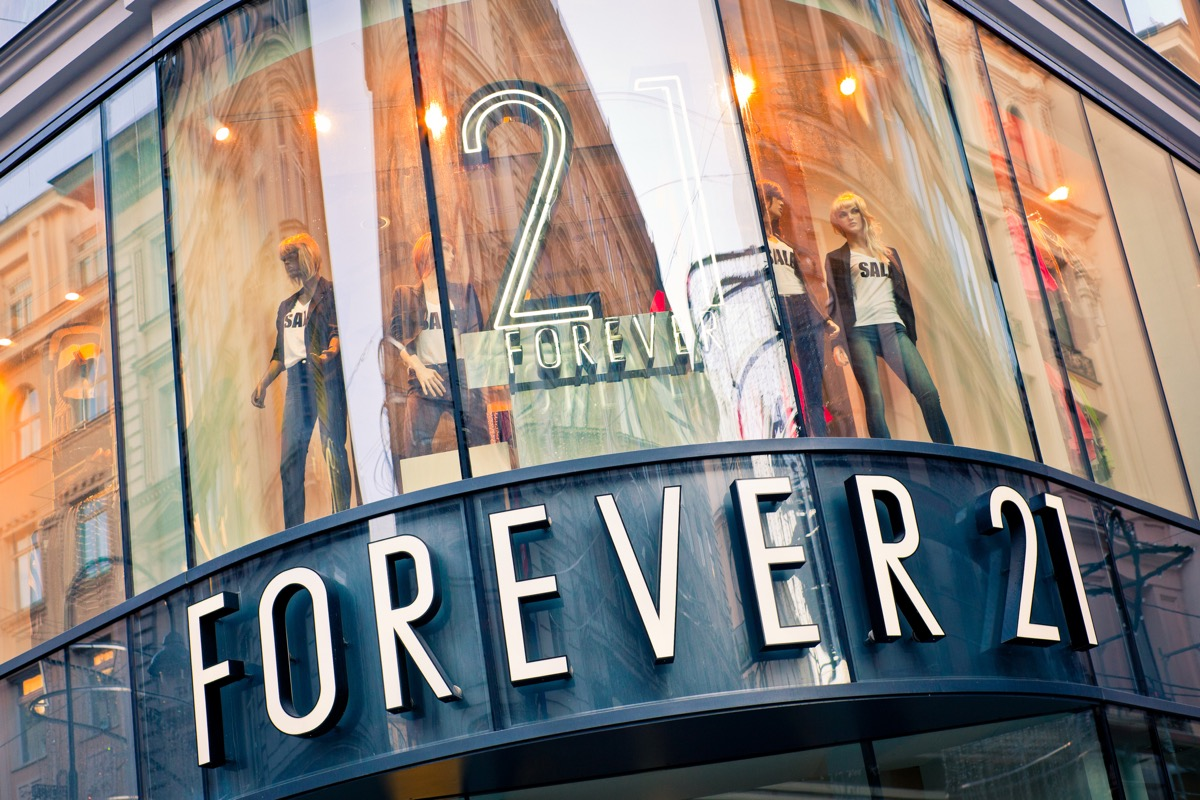 Vienna, Austria - January 6, 2012: Forever 21 fashion store display window with mannequins. Forever 21 is an American chain of clothing retailers with branches in major cities.