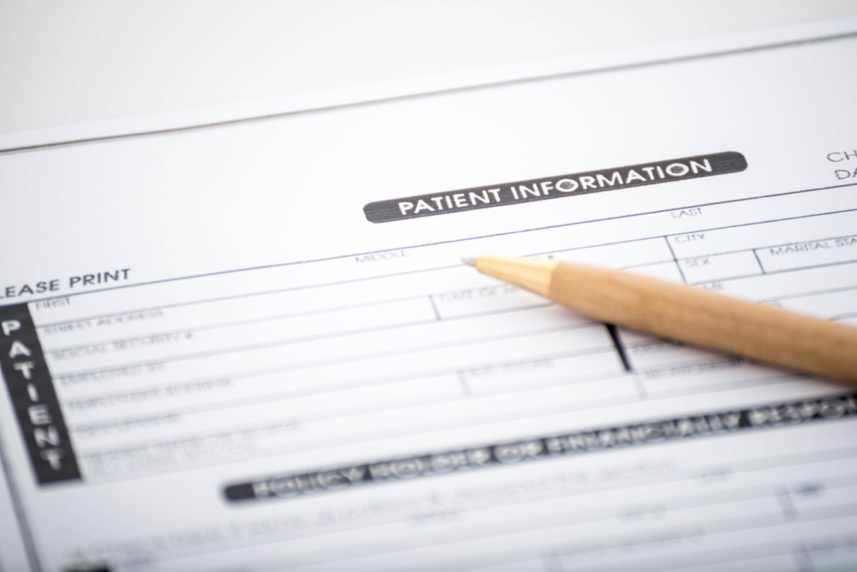 Patient's information form at the doctor's office