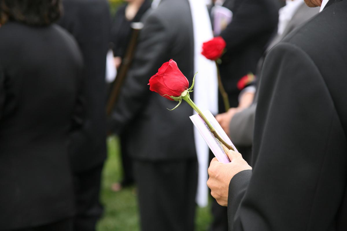 closeup of a funeral burial