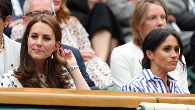 Kate (Catherine Middleton) Duchess of Cambridge and Meghan Markle, Duchess of Sussex at Wimbledon in 2018