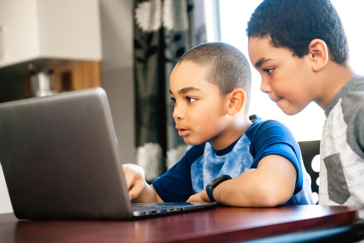 Kids on laptop together