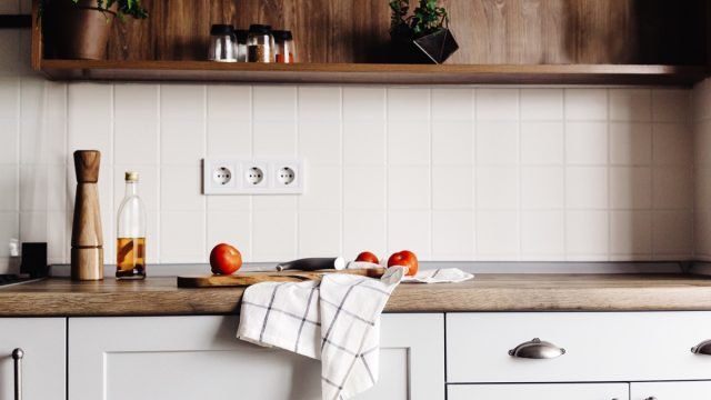 Kitchen counter with dish towel