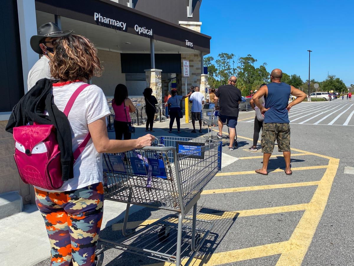 long line outside walmart store