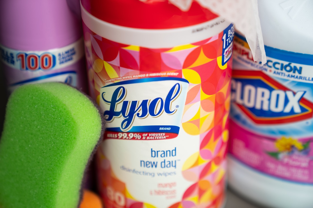 lysol and Clorox cleaners with sponge