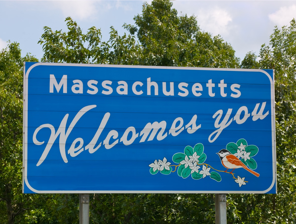 Welcome to Massachusetts road sign.