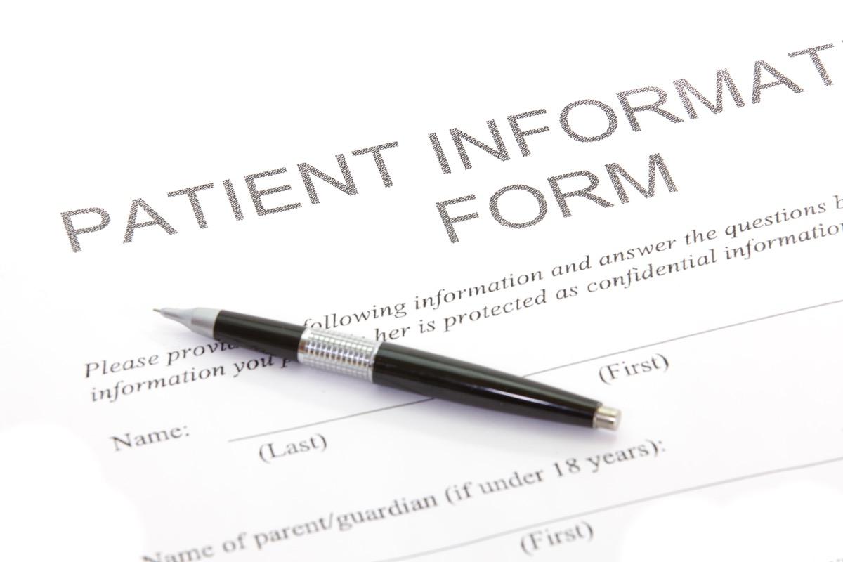 Patient information form dentist's office