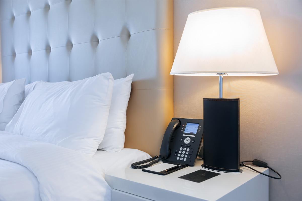 Hotel phone on nightstand