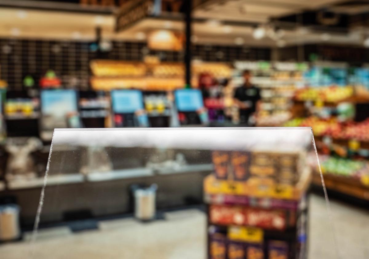 plexiglass shield at supermarket
