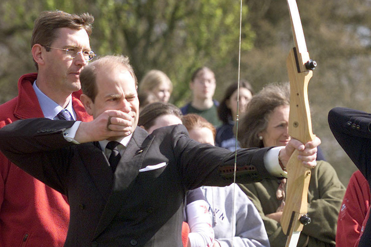 Prince Edward, the Earl of Wessex accompanied by the Countess of Wessex try their hand at archery at Barnetts Park in Belfast in 2002
