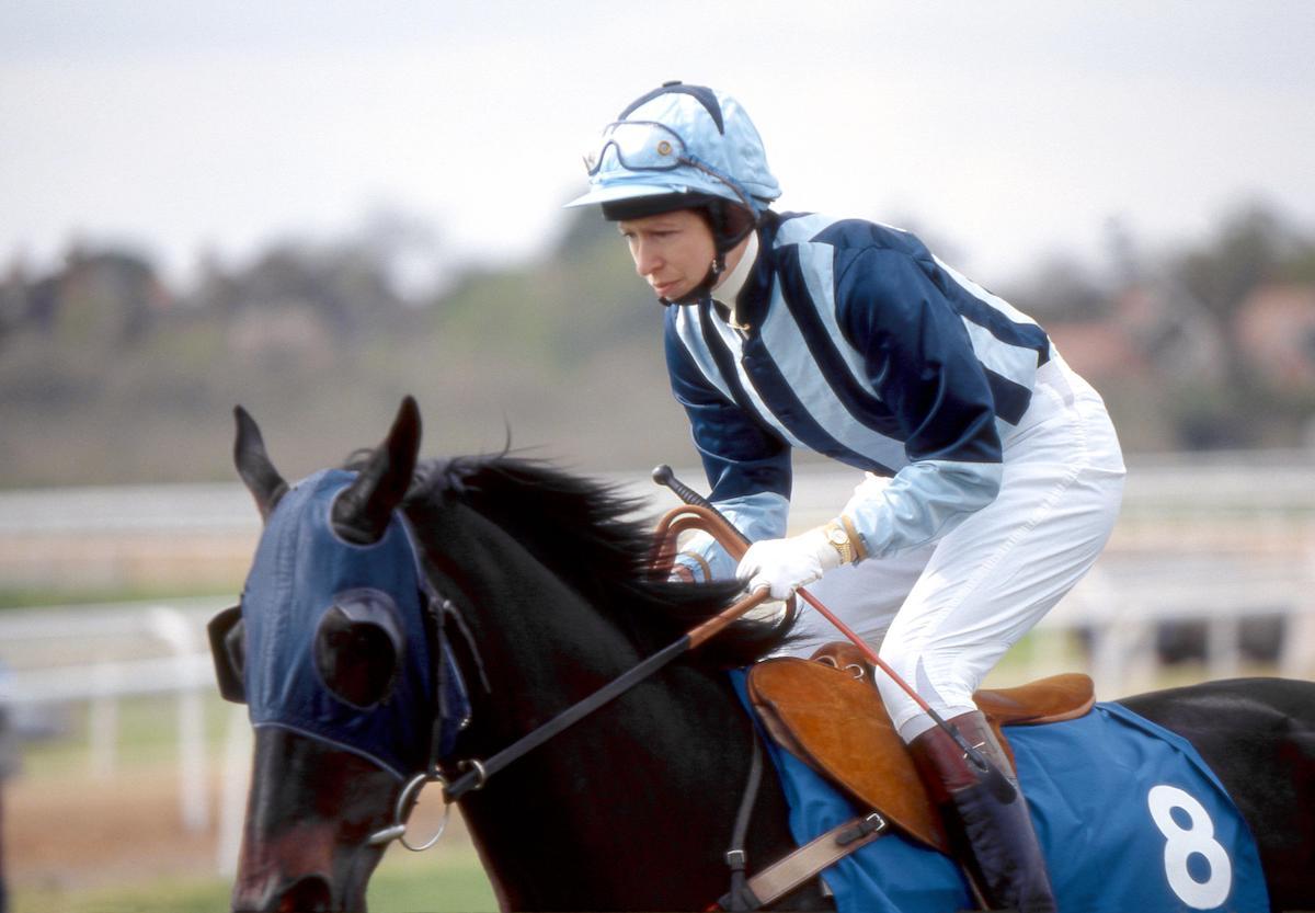 Princess Anne horse jockey racing at Sandown Park, England March 1987