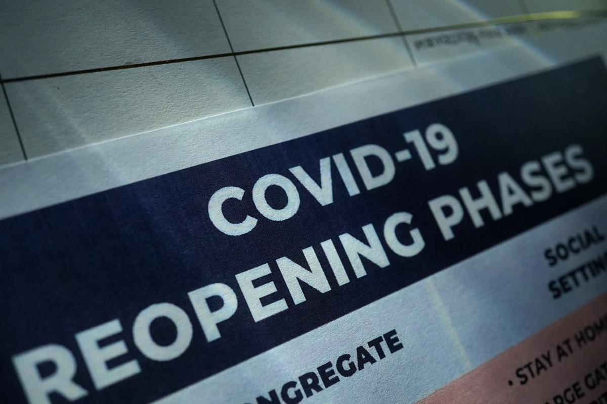 shot of coronavirus reopening plan