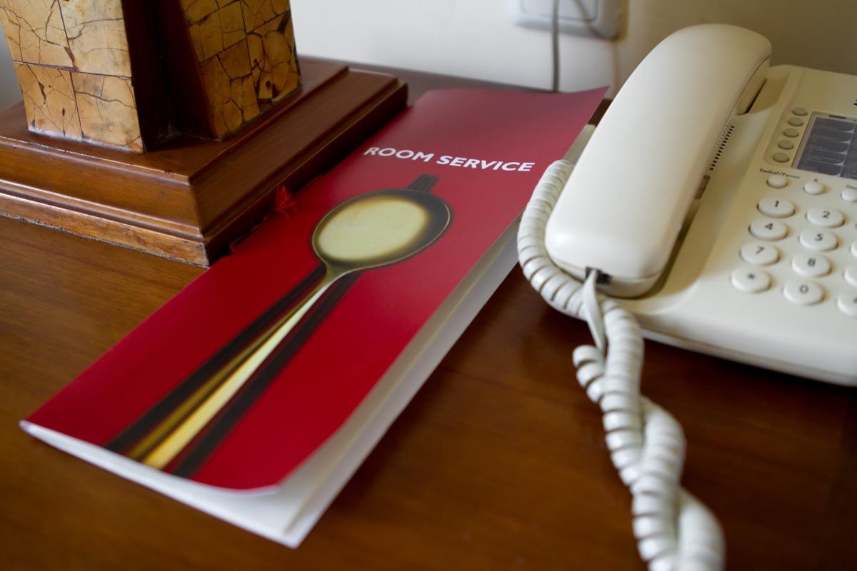 room service menu on hotel desk