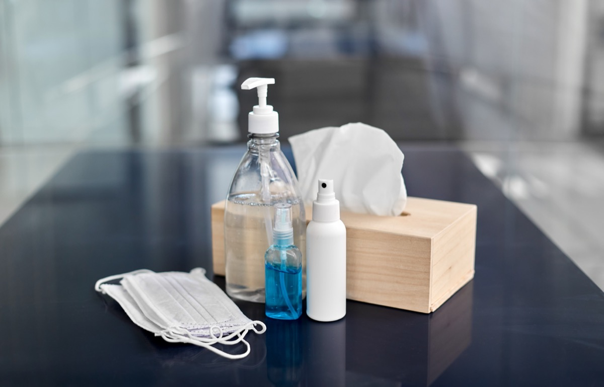Hand sanitizer, tissues, masks, and disinfectant