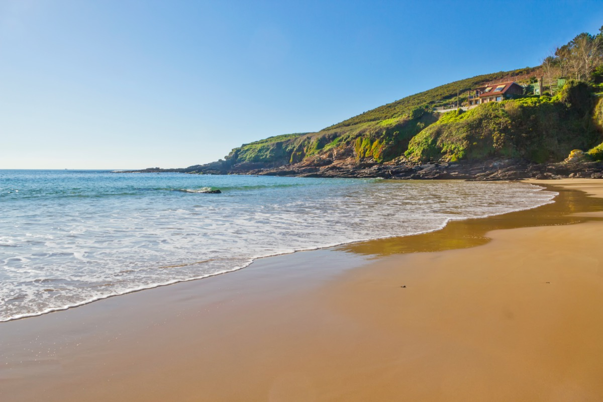 empty beach in sanxenxo, spain