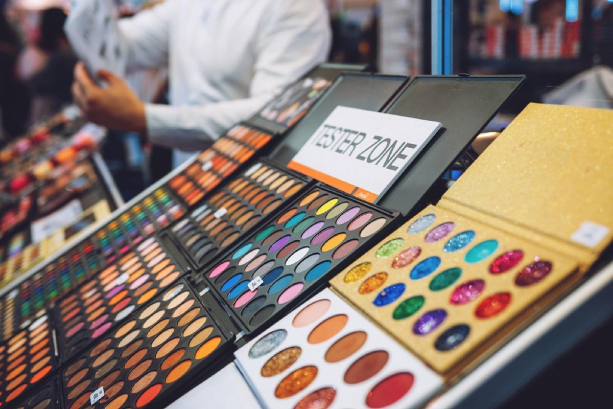 close up of makeup samples at a store
