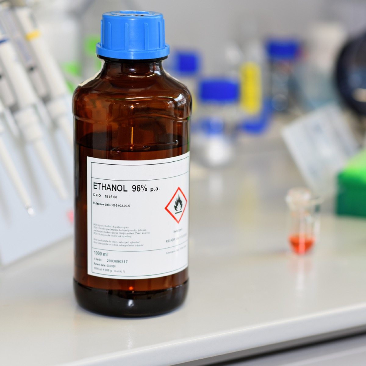 bottle of ethanol alcohol in a lab