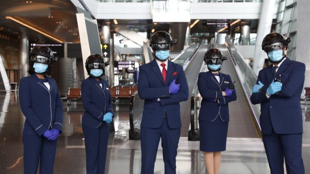 security team wears thermal scanning helmets at an airport