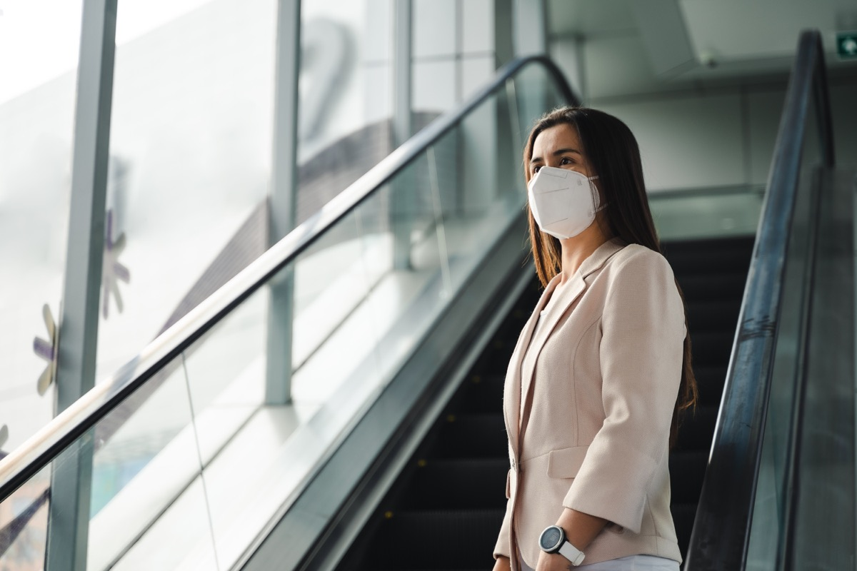 woman wearing N95 mask to protect pollution PM2.5 and virus. COVID-19 Coronavirus and Air pollution pm2.5 concept.