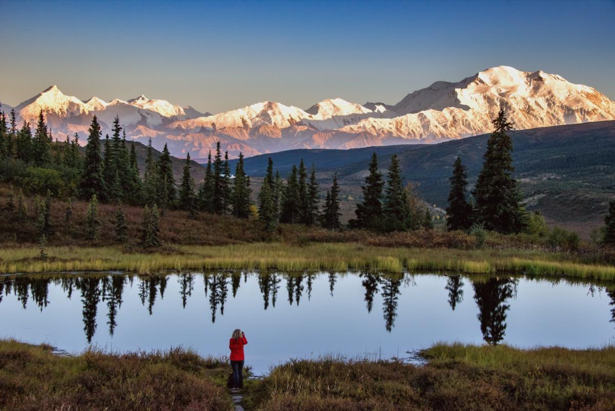 View of Mount Denali in Alaska