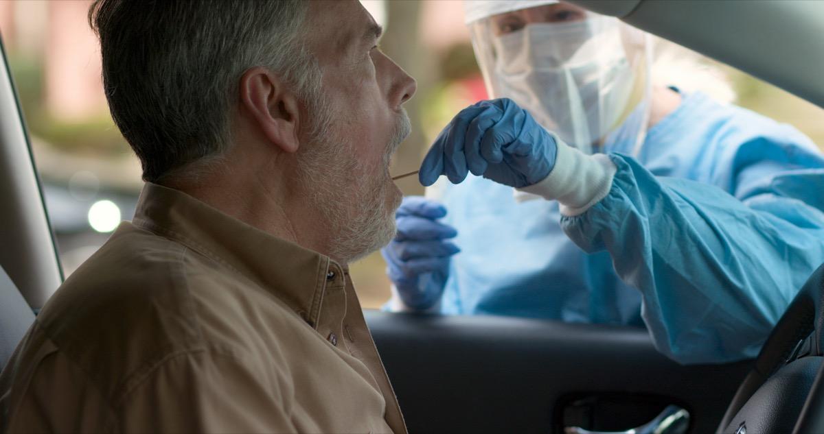 Man getting a coronavirus test