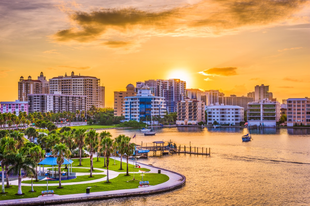 Florida skyline with palm trees and buildings