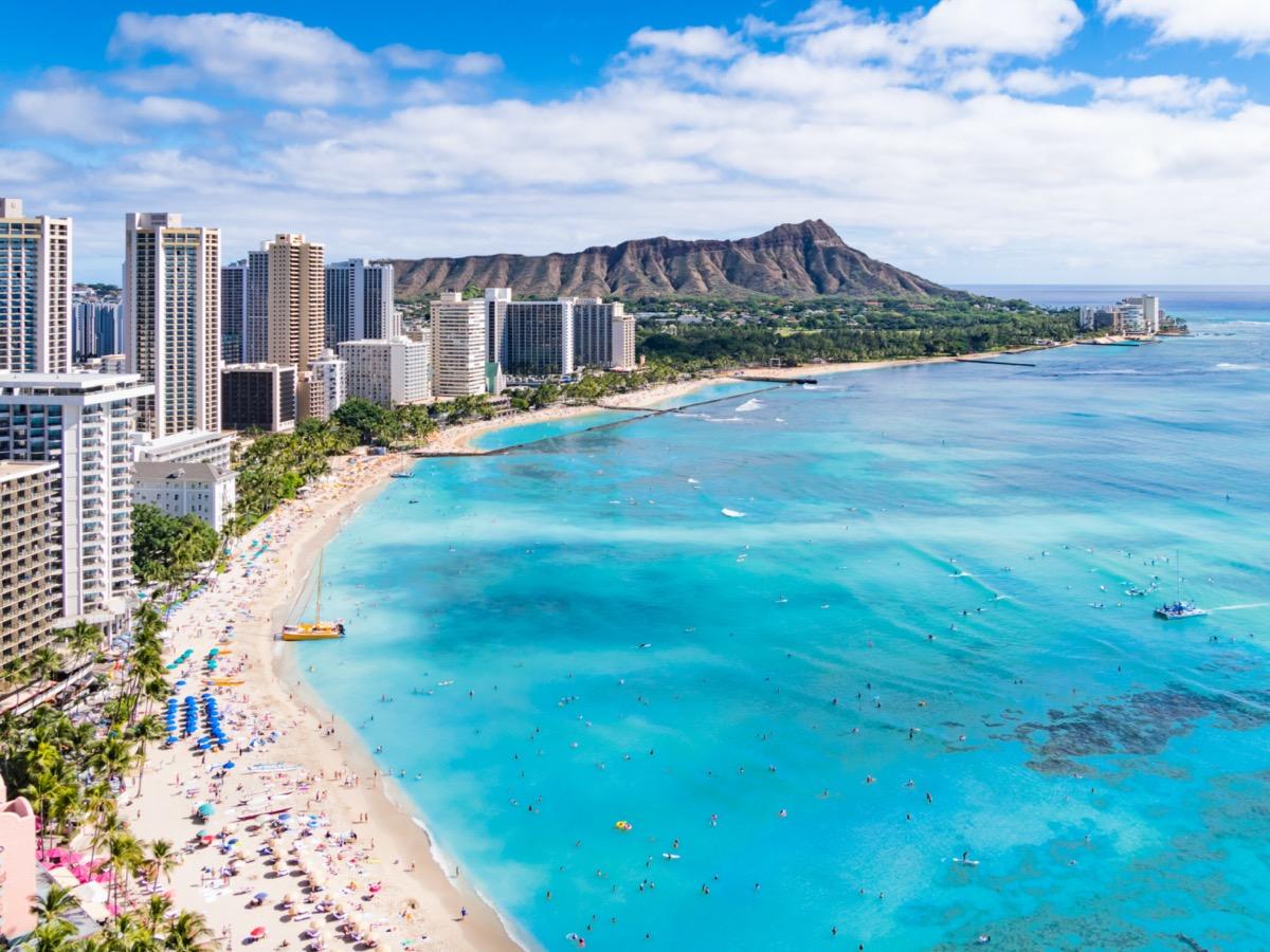 Waikiki Beach Hawaii coastline from above