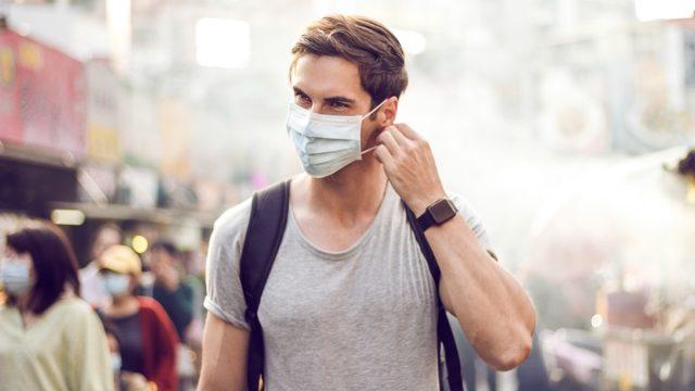 Handsome man wearing mask