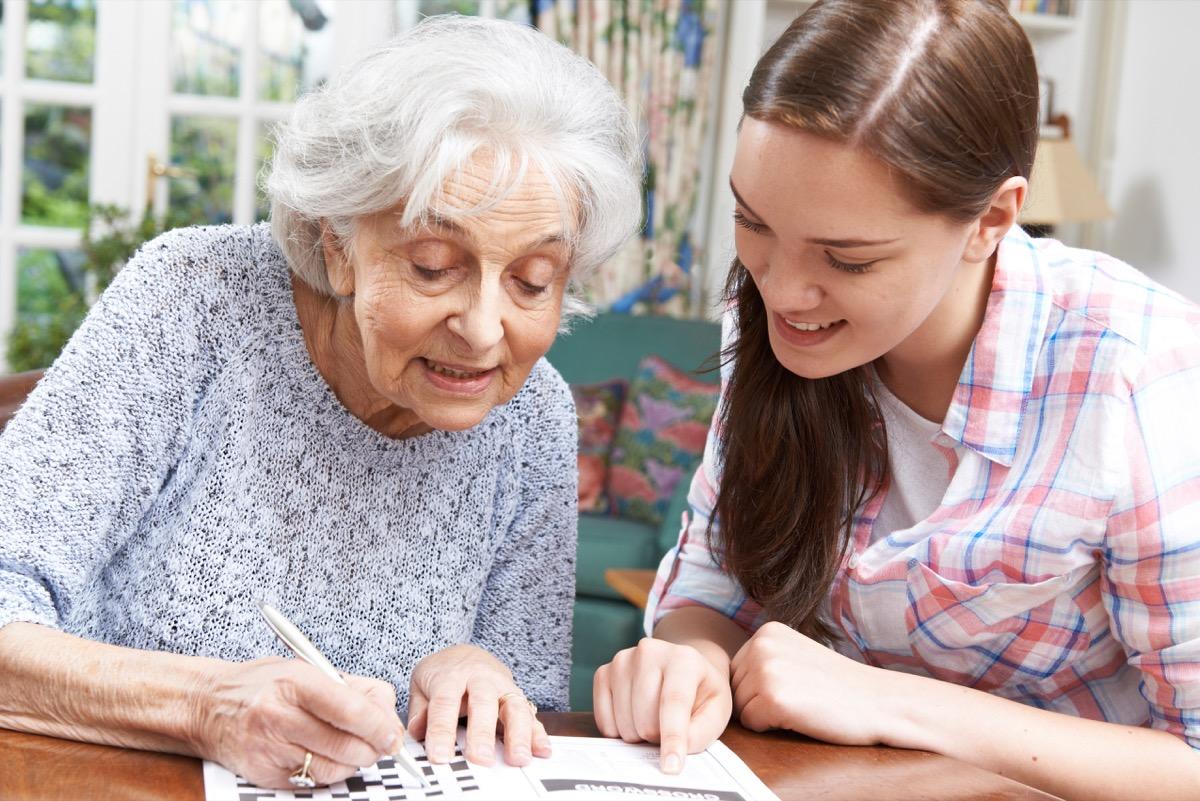 Grandma doing crossword