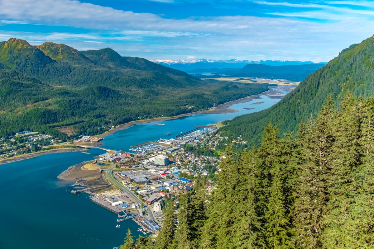 An aerial view of Juneau and the Gastineau Channel from Mount Roberts.