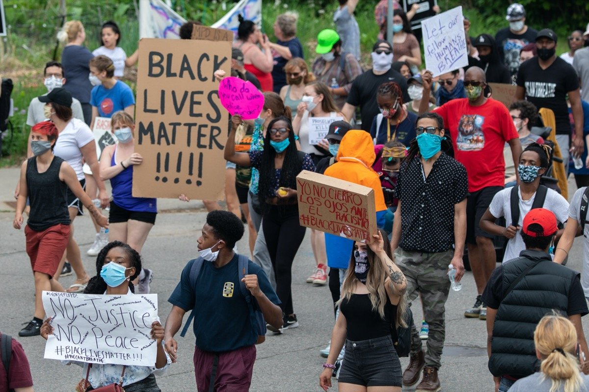 marchers at black lives matter BLM protest for George Floyd in Minneapolis, Minnesota