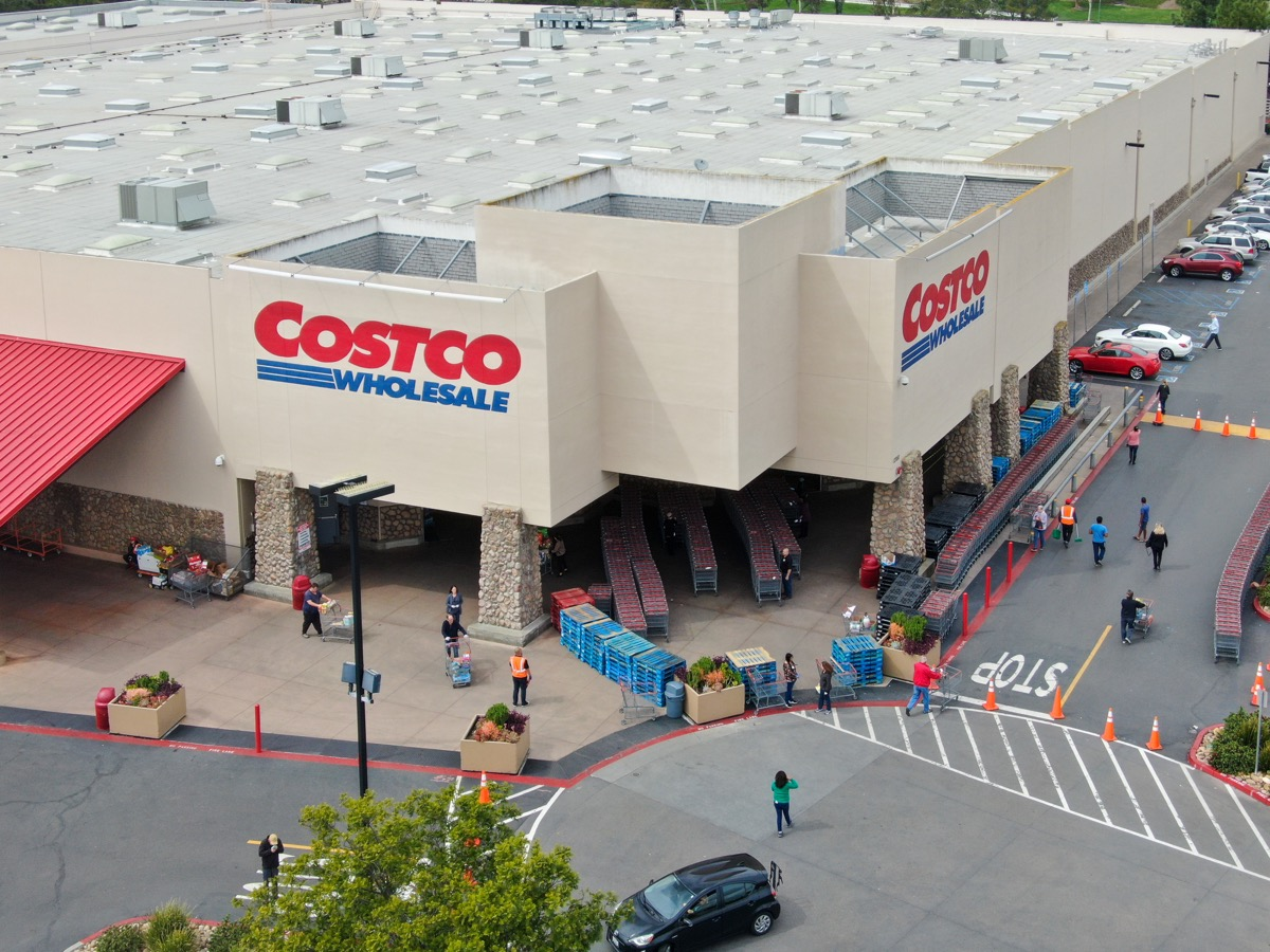 Special lines for shoppers at Costco during COVID-19 pandemic. Coronavirus virus and panic buying concept