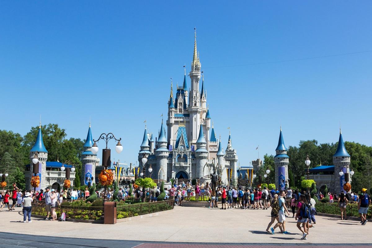 Walt Disney's Magic Kingdom theme park, showing the fairy tale castle, Orlando, Florida, USA
