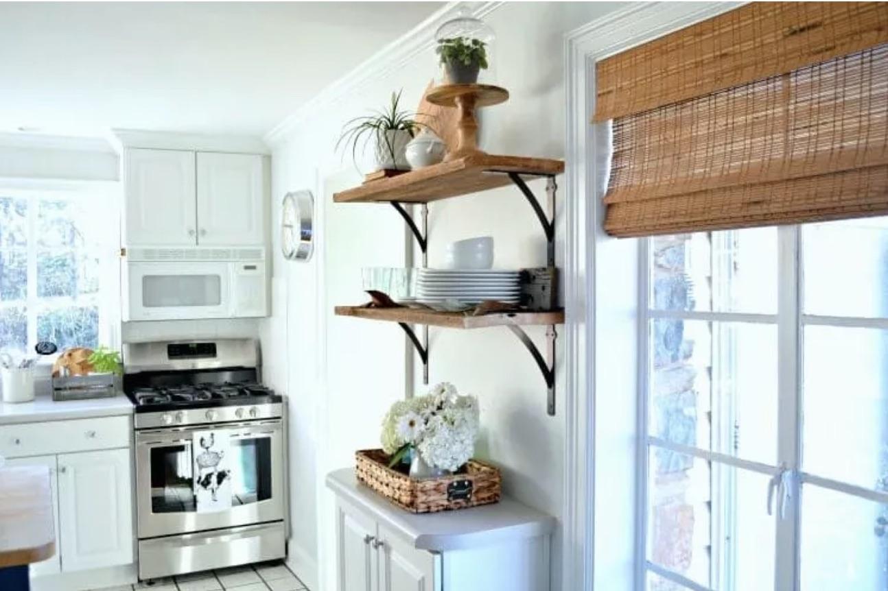 diy wood kitchen shelving