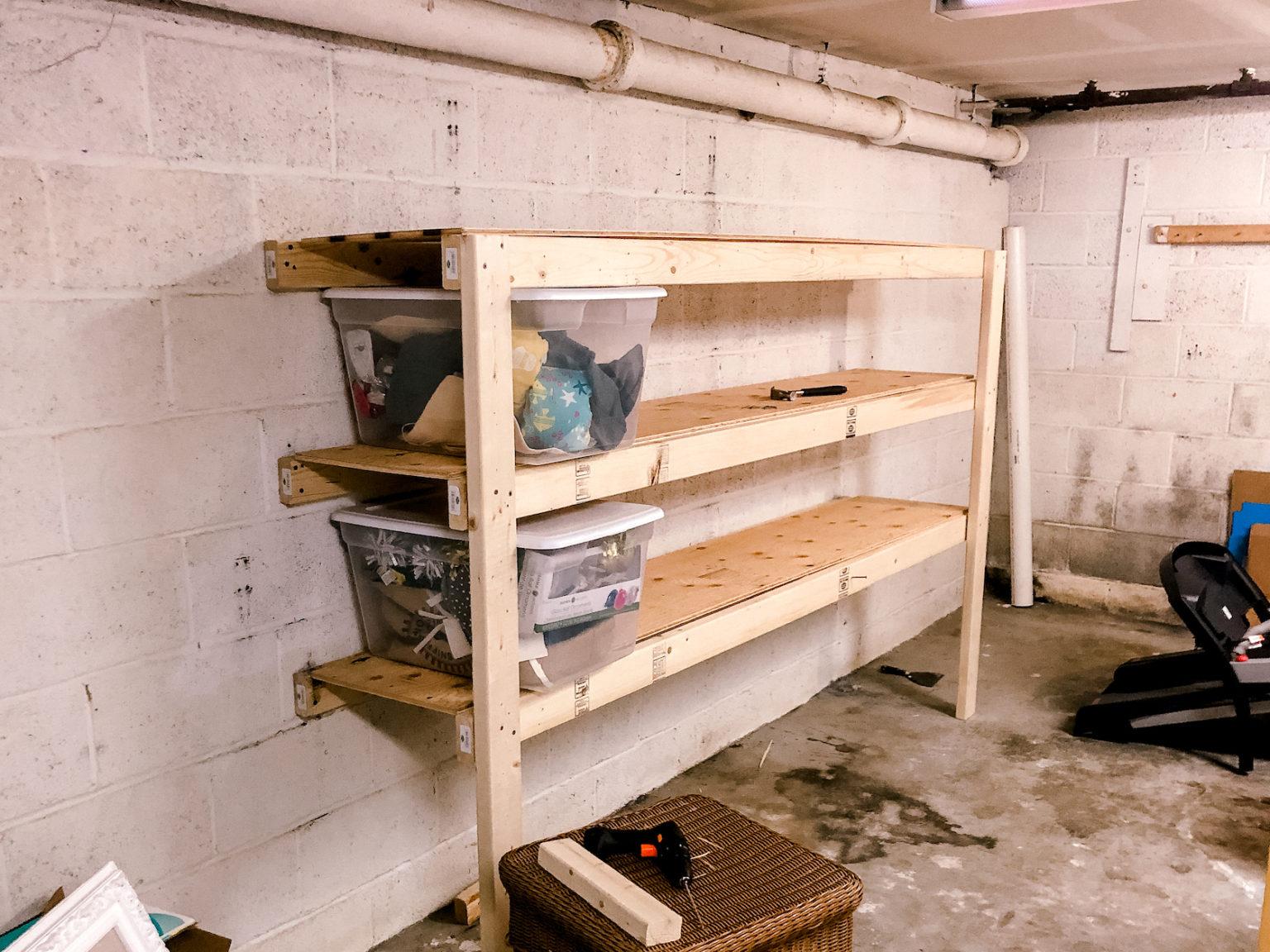 wooden garage shelves