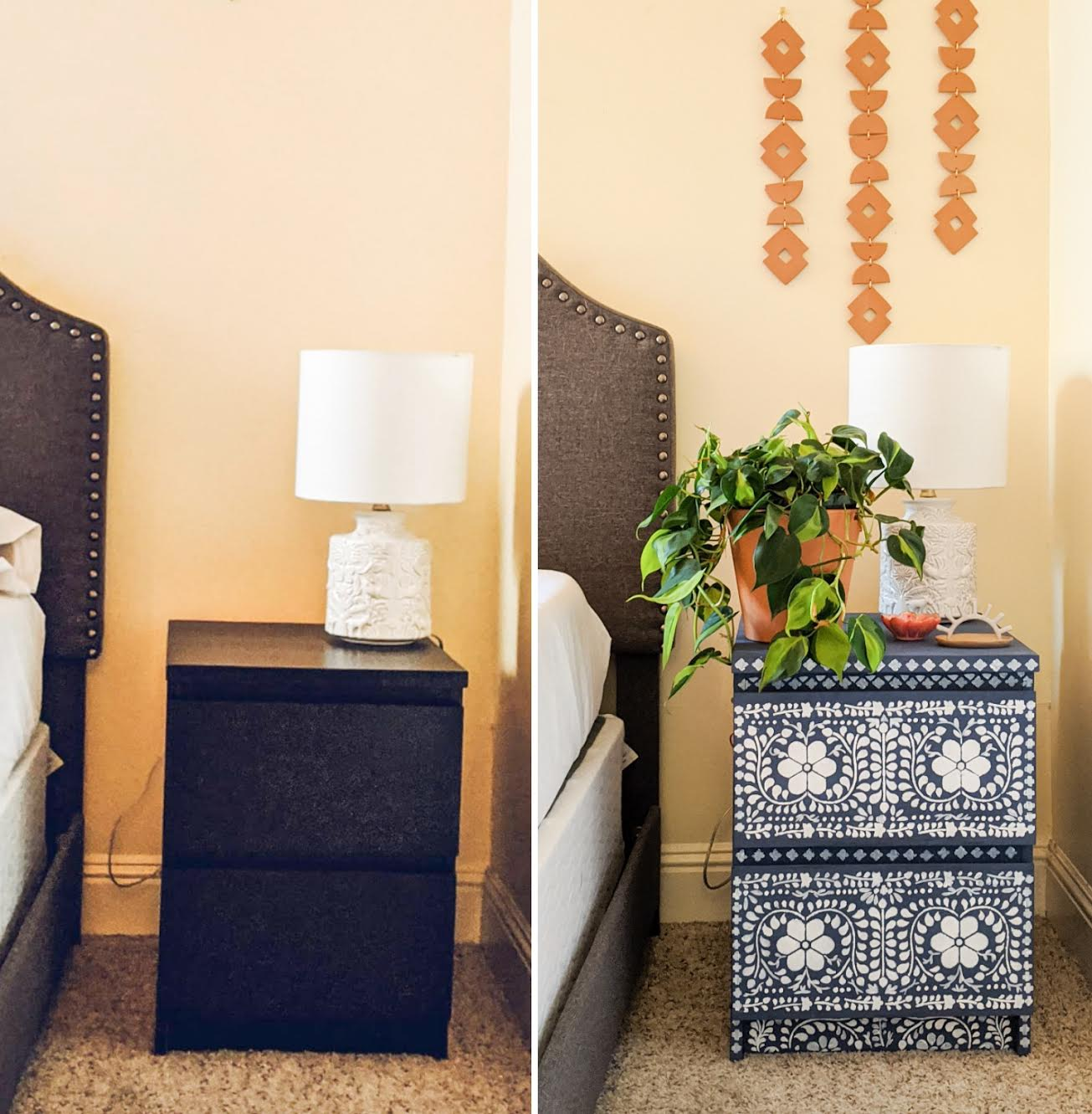 painted nightstand before and after