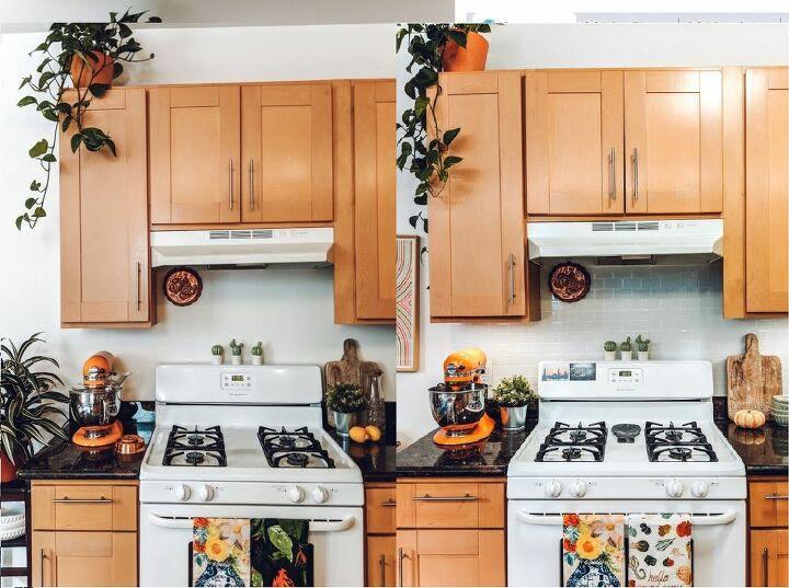 before and after kitchen with tile backsplash