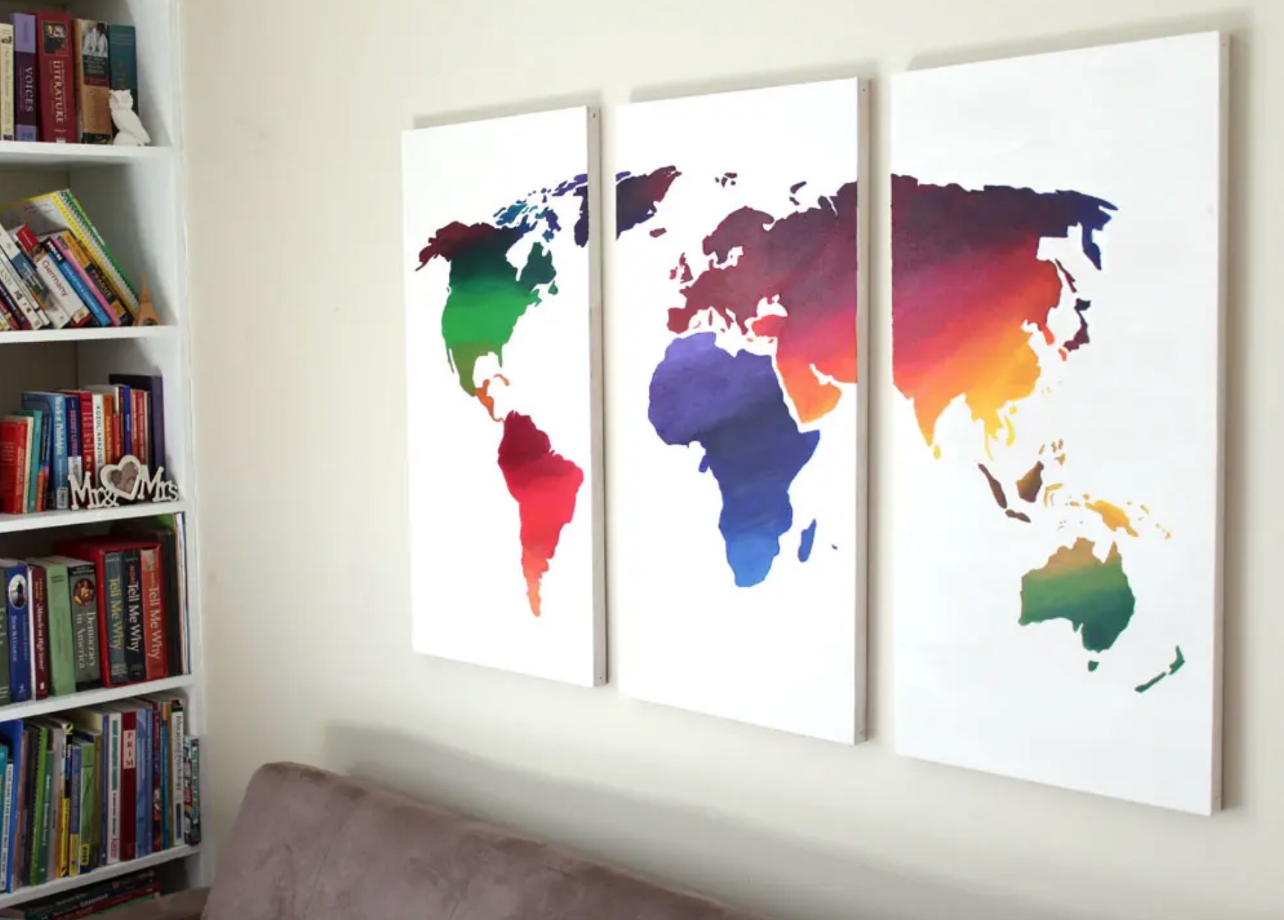canvases with world map on them