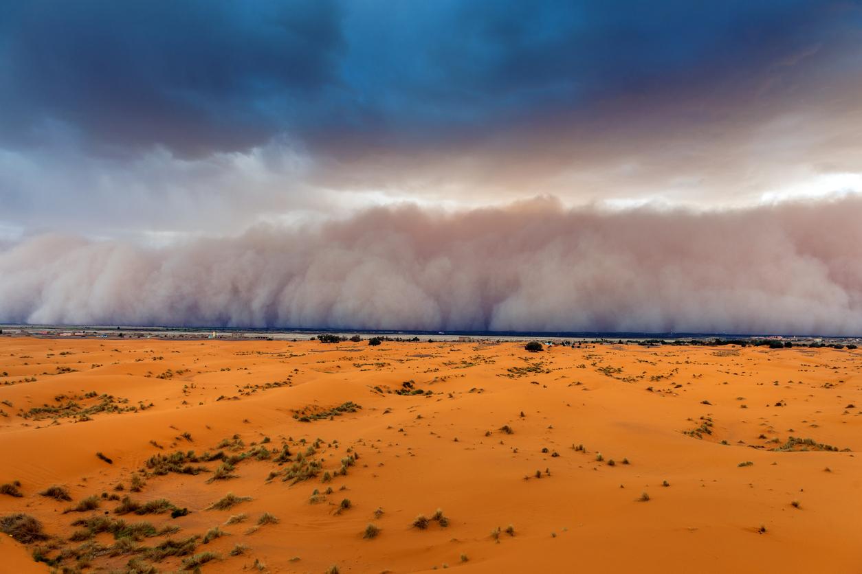 A dust cloud approaching over the dessert