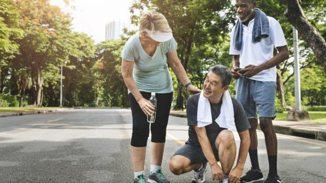 Older adults exercising together