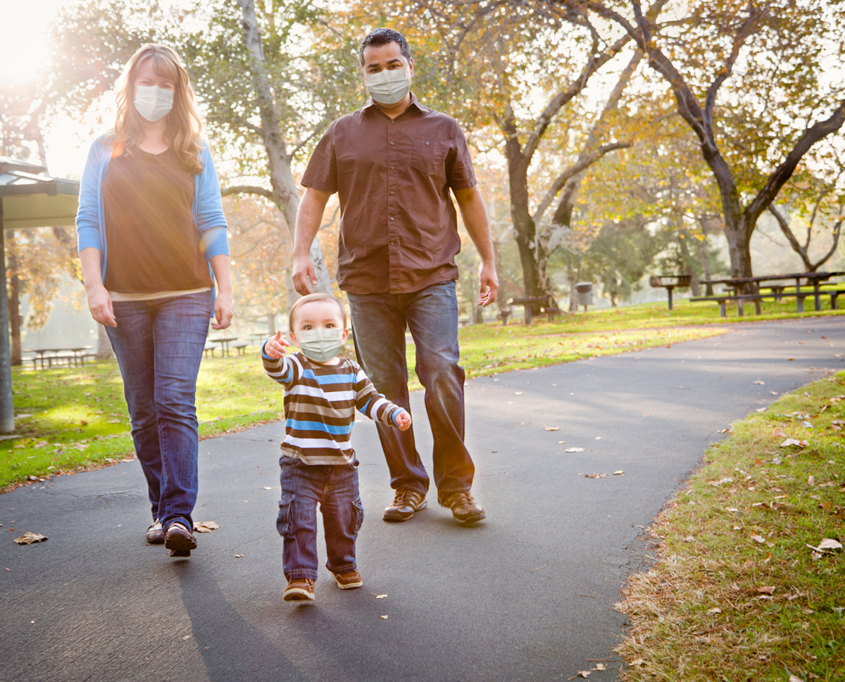 family Walking In The Park Wearing Medical Face Masks