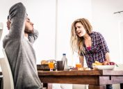 Couple fighting over breakfast table