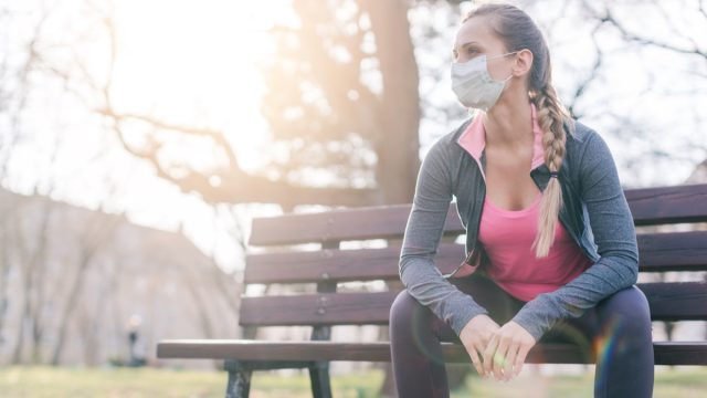 Woman trying to do sport during coronavirus crises despairing of the state of the world