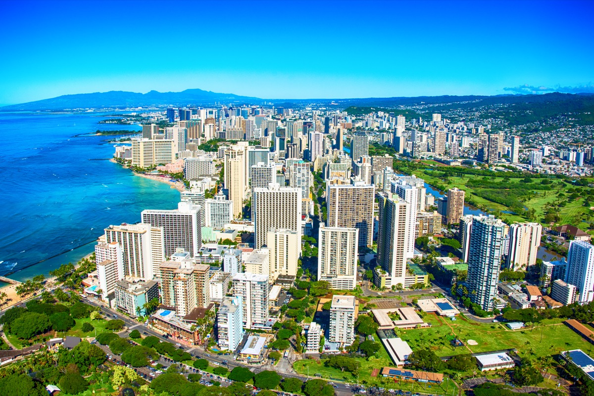 Wide angle aerial view of the Waikiki area of Honolulu, Hawaii shot from an altitude of about 1000 feet.