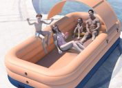 family in covered inflatable pool