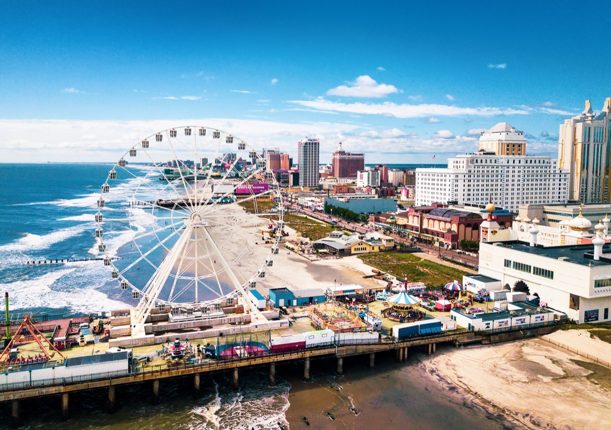 ATLANTIC CITY, USA - SEPTEMBER 20, 2017: Atlantic city waterline aerial view. AC is a tourist city in New Jersey famous for its casinos, boardwalks, and beaches