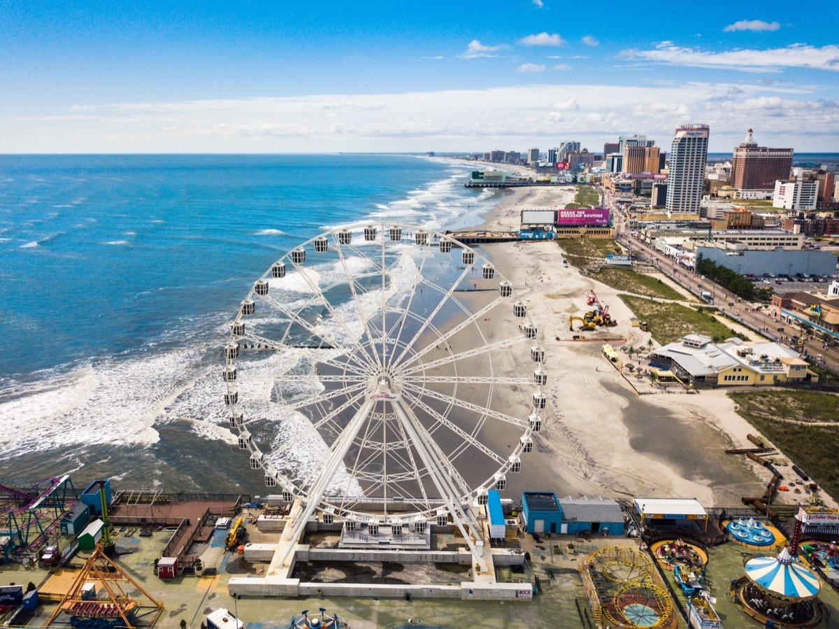 Atlantic City boardwalk and ferris wheel in new Jersey